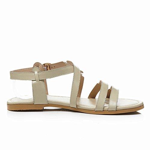 Sandales de à Bout Talons et Journee pour Confortables Beige UH Femmes Boucle Simple Ouvert D'Ete Plates 5g10qXnxn