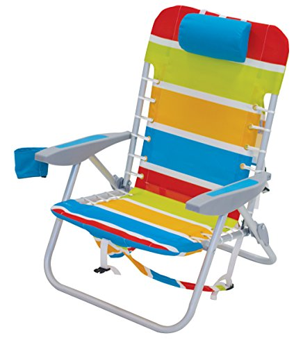 (Rio Beach Lace-up Aluminum Backpack Chair, Turquoise/Yellow/Lime/Red Stripe)