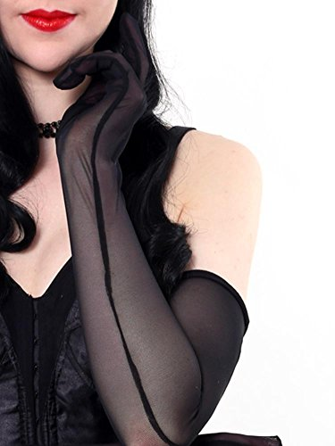 What Katie Did Gloves Long Sheer Black Evening Gloves