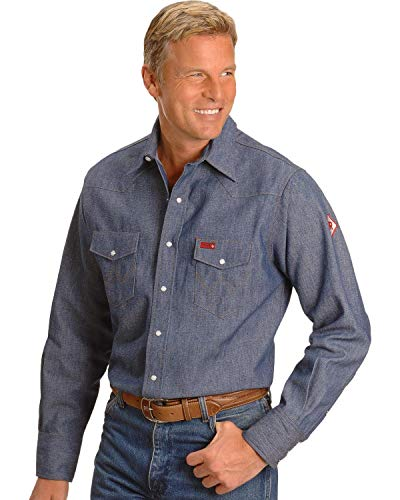 Wrangler Men's Flame Resistant Western Two Pocket Snap Shirt, Denim, ()