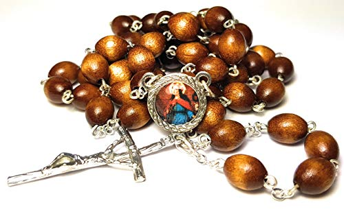 Relic Rosary 3rd Class of Saint Philomena Children, Youth, Babies, Infants, Priests, Lost Causes, Sterility, Virgins, Children of Mary, The Universal Living Rosary Association Santa Filomena (Brown) (St Rosary Philomena)