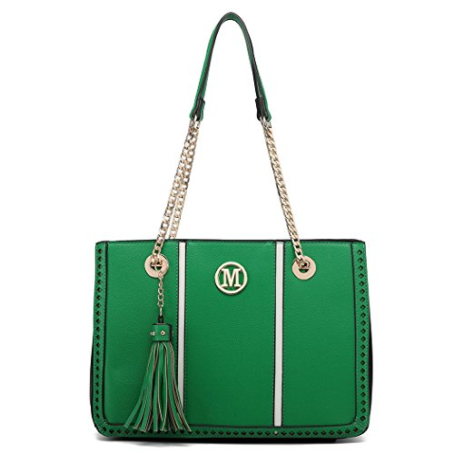 Miss with Block Shoulder Green Logo Lulu M Tassel Design Leather Bag Handbags Chain Women Front Pu UUwfHAqr