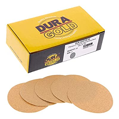 """Dura-Gold - Premium - 40 Grit 2"""" Gold Hook & Loop Sanding Discs for DA Sanders - Box of 20 Sandpaper Finishing Discs for Automotive and Woodworking"""