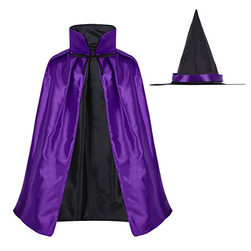 Agoky Girls Kids Halloween Witch Hooded Cloak Wizard Fancy Dress Cape with Hat Vampire Cosplay Costume Purple One Size]()