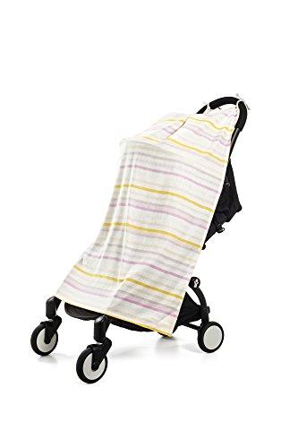Henry and BROS. Travel Blanket, Baby Blankets For Girls, Newborn Baby Blanket, Made Of 100% Cotton (Pink Lemonade (Stripes Lemonade)