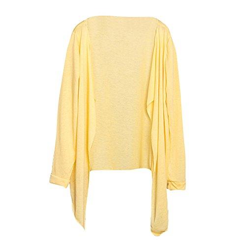 HGWXX7 Women Summer Long Thin Cardigan Modal Solid Sun Protection Clothing Shirt (Yellow -2, Free Size)
