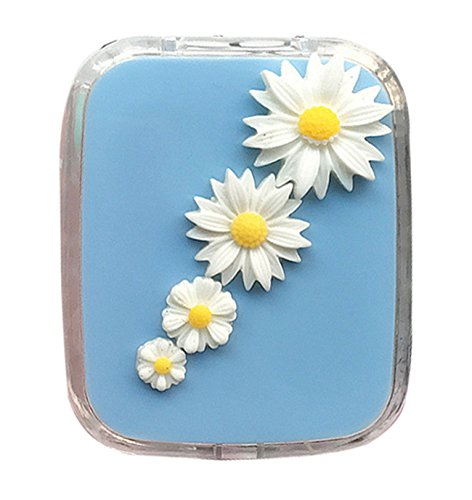 Price comparison product image Travel Glasses Contact Lenses Case Daisy Flowers Pattern Box with Mirror Container or Eyes Care Kit Holder (blue)