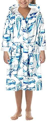 MoneRffi Girls Boys Bathrobes Toddler Kids Hooded Robes Dressing Gown Plush Soft Coral Fleece Bathrobe Loungew