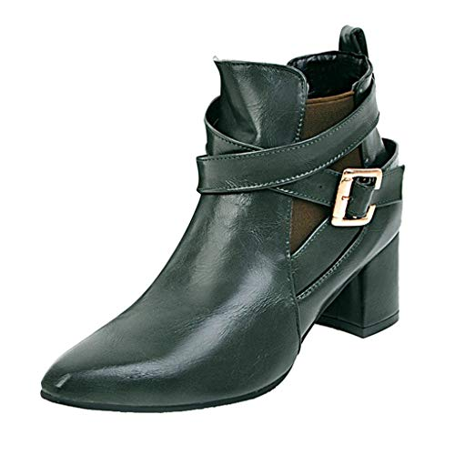 - LIM&Shop ⭐ Women's Closed Toe Faux Suede with Faux Leather Buckle Strap Chunky Stacked Heel Ankle Boot Block Short Boot Green