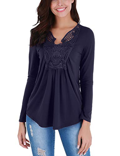 Ruched Blouse Front - FISOUL Peplum Tops Deep V-Neck Ruched Front Ruffle Blouse Plus Size (Navy Blue, M)