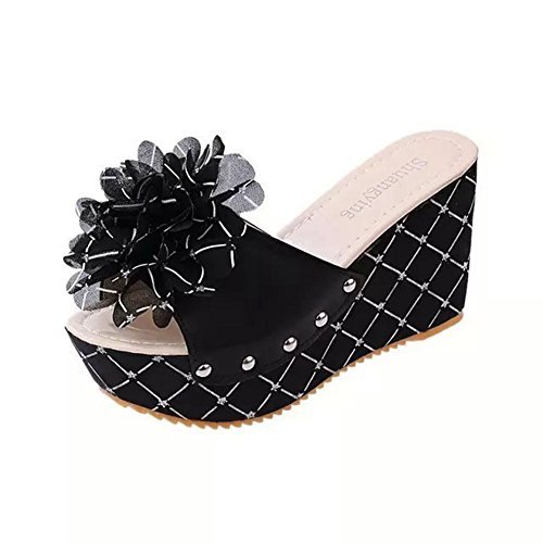 Platform on Dressy Summer Ladies Bohemian Thick JULY Beach Womens Slip Slippers Lace Fashion Heel Flower Sandals Wedges Black1 T qp4Z0Ox