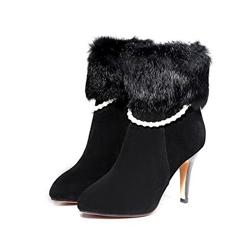 AmoonyFashion Womens Round-Toe Closed-Toe High-Heels Boots With Slipping Sole and Bead Black RarwRYh