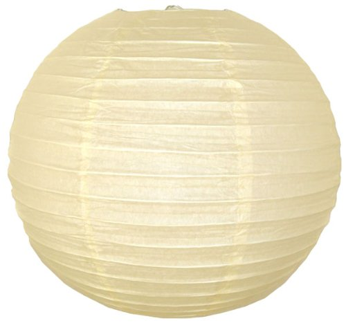 Just Artifacts 22-Inch Ivory Round Chinese Japanese Paper Lantern (1pc, Ivory)