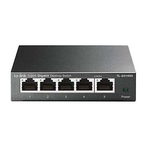 TP-Link TL-SG105S 5-Port Desktop Gigabit Ethernet Switch/Hub, Ethernet Splitter, Plug & Play, no configuration required, Steel Case, Lifetime Warranty