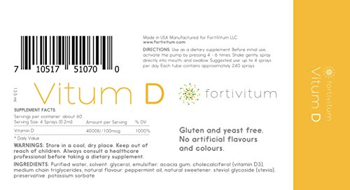 Vitamin D3 4000 IU Liquid Spray (Cholecalciferol), Naturally High Absorption Rate   Strong Bone Health and Immune System Boost by FortiVitum (Image #5)
