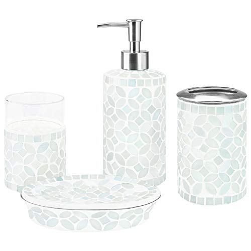 4-Piece Housewares Glass Mosaic Bathroom Accessory Set, Durable Bath Organizer Includes Soap Dispenser Pump, Toothbrush Holder, Tumbler, Soap Dish Sanitary, High Class Home Decor Gift (White)