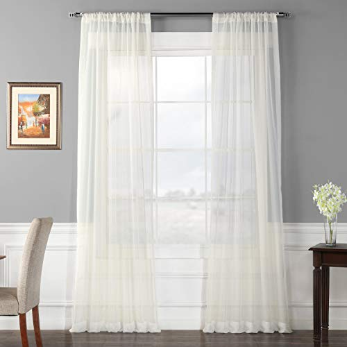 Half Price Drapes SHCH-VOL3-84-PR Pair Voile Poly Sheer Curtain, 2 Panels, Solid Off White (Curtain Ivory Pole)