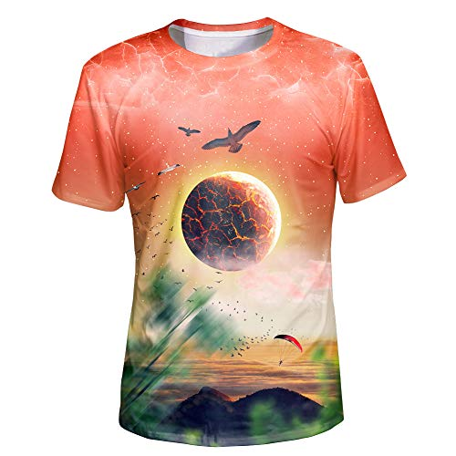 Asylvain Unisex 3D Pink Deisgn with Explosion Planet and Birds Graphic Short Sleeve Tee Shirt for Teen Boys and Girls, Medium