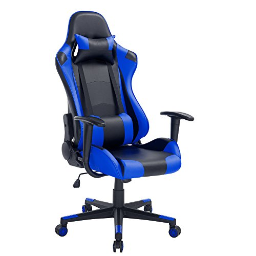 High-Back Swivel Gaming Chair Black & Blue With Lumbar Suppo