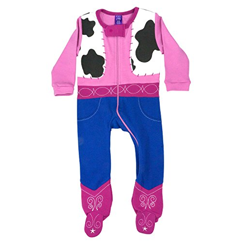 Sozo Baby-Girls Cowgirl Footed Romper, Pink/Blue/Black/White, 12 Months