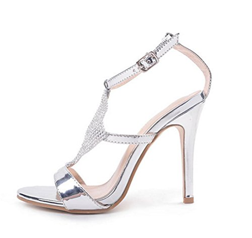 Mid Wedding Party Evening Silver High Kitten Heeled Gift Personality Low Rhinestones Girl's Bridal Stiletto Ladies Strappy Sandals Prom HETAO Shoes Heels 6Zqtaw