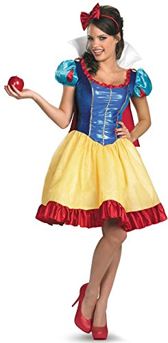 [Disguise Disney Deluxe Sassy Snow White Costume, Yellow/Red/Blue, Medium/8-10] (White Fairy Costumes)