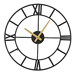 Large Wall Clocks - Big Oversized Round Silent Battery Operated Metal Clock for Home Living Room Kitchen, 18 inches