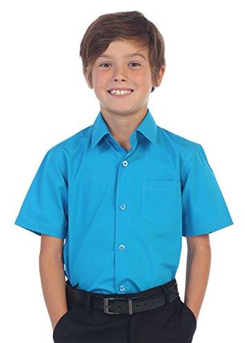 Gioberti Boy's Short Sleeve Solid Dress Shirt, Turquoise B, 12