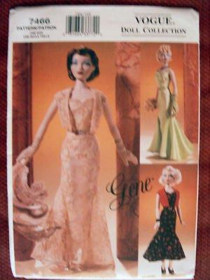 "Vogue 7466 SEWING PATTERN GENE™ MADRA 15½"" DOLL CIRCA 1930 EVENING - Vogue Wear Evening"