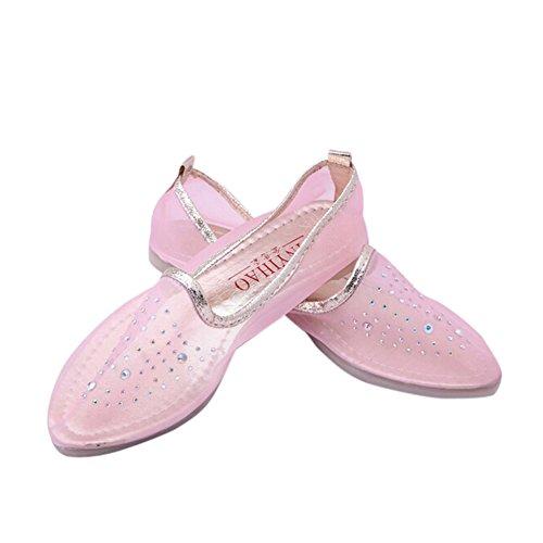 Angelliu Dames Uitgehold Mesh Strass Punt Teen Loafer Flats Sandalen Roze