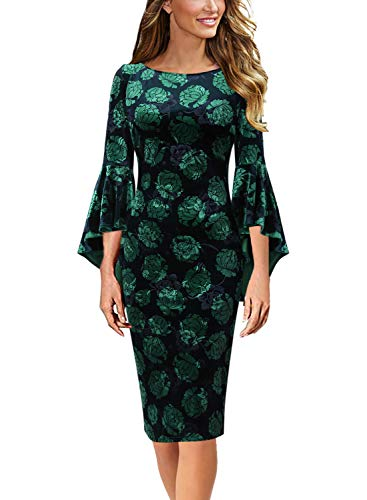 VFSHOW Womens Velvet Floral Print Bell Sleeves Cocktail Party Sheath Dress 1679 GRN XL