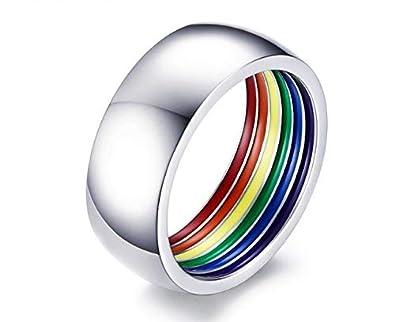 Hnks Bagues pour Hommes et Femmes, Bagues Rainbow Magnifiquement intégrées, Cadeaux pour bagues pour Gays, Lesbiennes et Amis