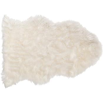 SLPR High Pile Faux Sheepskin Rug (2u0027 X 3u0027, White) | One Pelt Decorative Rug  For Bedroom Living Room Guest Room Plain Area Soft Furry Rug