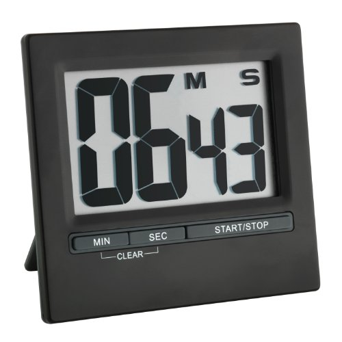 TFA Dostmann 38.2013.01 Elektronischer Timer und Stoppuhr mit großem Display, Front aus schwarzem Aluminium