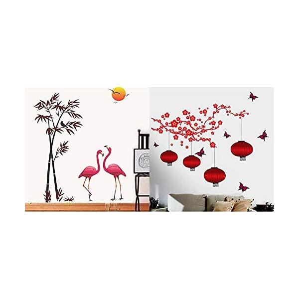 Flamingos Bamboo at Sunset Chinese Lamps Decals Design Wall Sticker