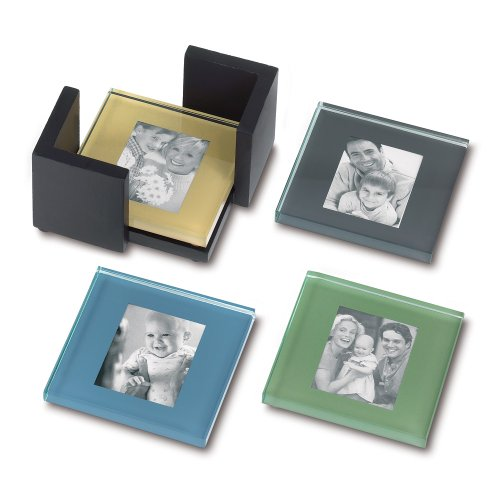 Sarah Peyton Multi-Color Glass Photo Coasters, with Storage Rack