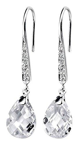 Elements Silver Womens Teardrop Hook Drop Earrings - Silver/Clear