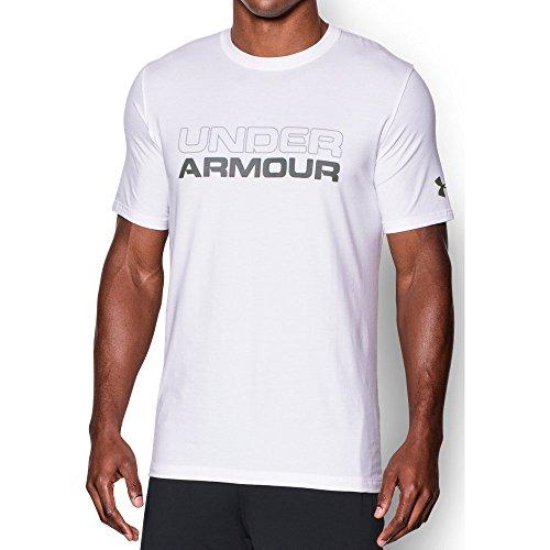 Under Armour Men's Wordmark T-Shirt, White (100)/Graphite, Large (Under Armour Flash Shirt)