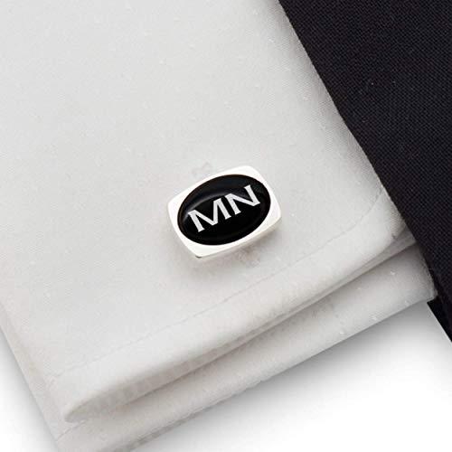 Two Letter Monogram Cufflinks, Gift for Groom, Custom Cufflink, Groomsmen Cufflinks, Black Onyx stone 925 Silver | FREE Gift Messaged, Box | Handmade