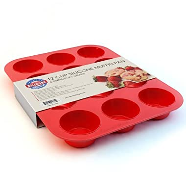 Silicone Muffin Pan and Cupcake Maker 12 Cup, Red, Plus Muffin Recipe Ebook