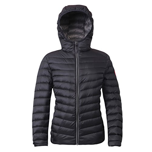 (Rokka&Rolla Women's Ultra Lightweight Hooded Packable Puffer Down Jacket (M, Rich Black))