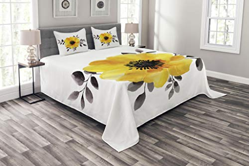 Lunarable Flower Coverlet Set King Size, Watercolored Image of Single Flower and Leaves Abstract Design Modern Artwork, Decorative Quilted 3 Piece Bedspread Set with 2 Pillow Shams, Yellow and Grey ()