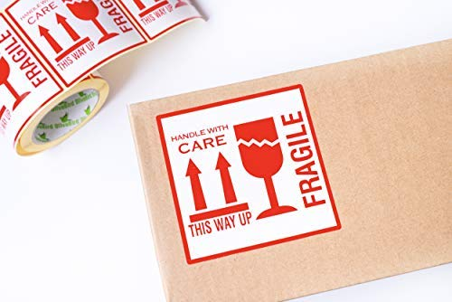 250 AdesiviFragile This Way Up Handle With Care Adesivi 10 x 10 cm White-Red