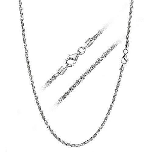 Florance jones Solid 925 Sterling Silver 3mm Italian Diamond Cut Twisted Chain Necklace | Model NCKLCS - 12472 | 30 - inch - 75cm (Necklace Fabric Jasper)