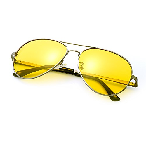 Classic Aviator HD Polarized Night Vision Metal Frame for Driving Sun Glasses (Night vision - Aviator Sunglasses Hd Vision