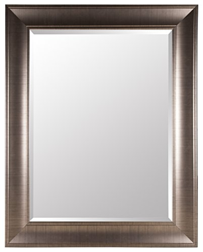 Gallery Solutions Large 39X49 Beveled Wall Mirror with Brushed Bronze Frame (Mirror Brushed Bronze)