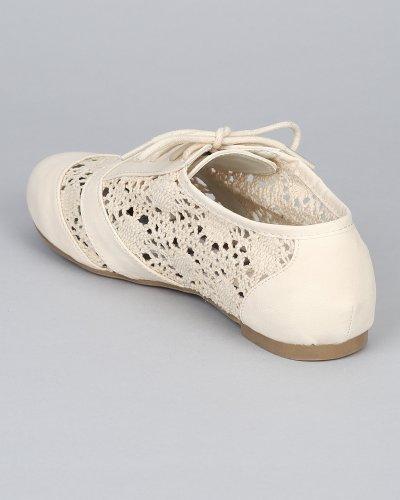 Brezza Naturale Cambridge-45 Oxford Lace Up Balletto Punta Tonda Piatta - Off White Uncinetto
