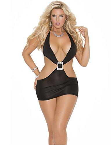 Rhinestone Buckle Mini Dress - Black Plus Size Deep V Mini Dress, Queen Size
