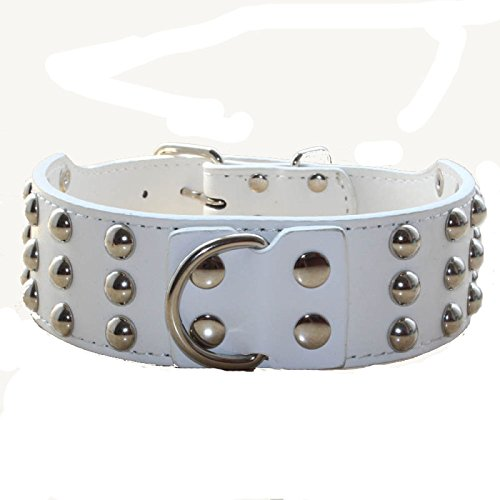 haoyueer 2 inches Wide Leather 3 Rows Studded Dog Collar Heavy Duty Fit Large Dogs Pit Bull Terrier Mastiff(White,L)
