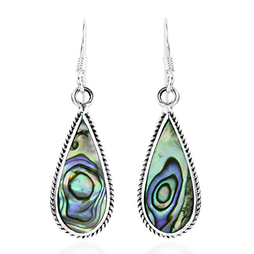 (Classic Teardrop Shaped Abalone Shell Inlaid .925 Sterling Silver Dangle Earrings)